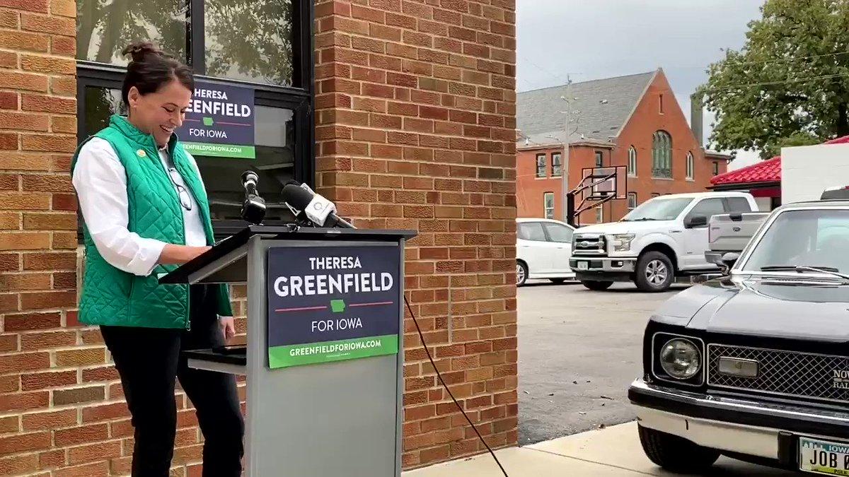 Image for the Tweet beginning: Iowa Senate Democratic challenger @GreenfieldIowa