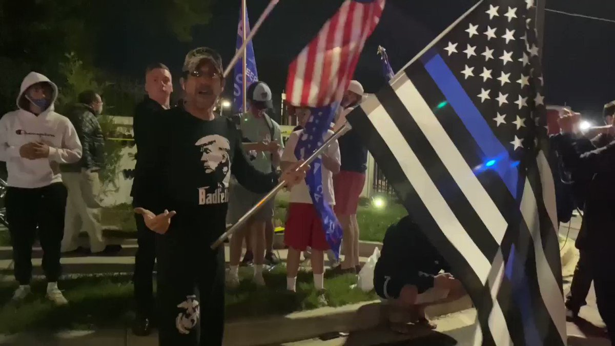 """RIGHT NOW: Trump-loving patriots outside Walter Reed chanting """"Law and Order"""" and """"Trump!"""" Most loyal supporters in the world."""
