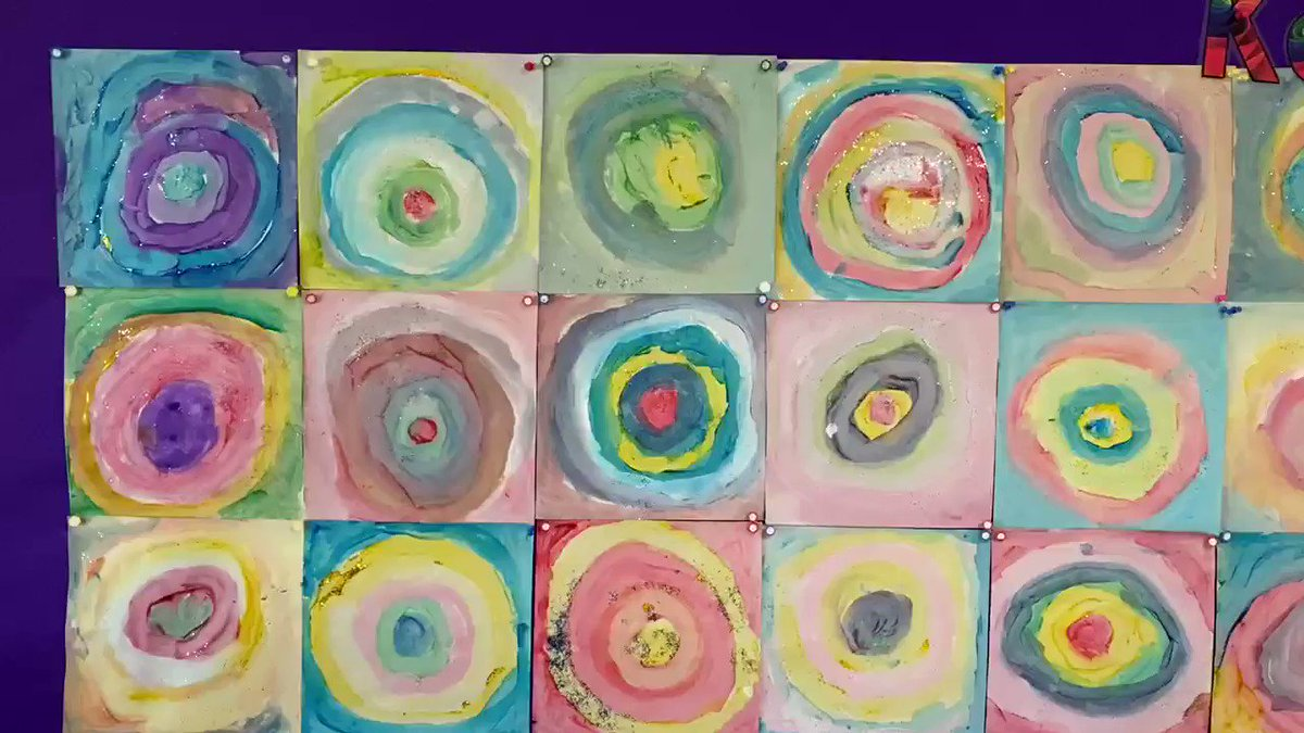 The Reception children's amazing Kandinsky inspired art work is finished! It looks so beautiful!