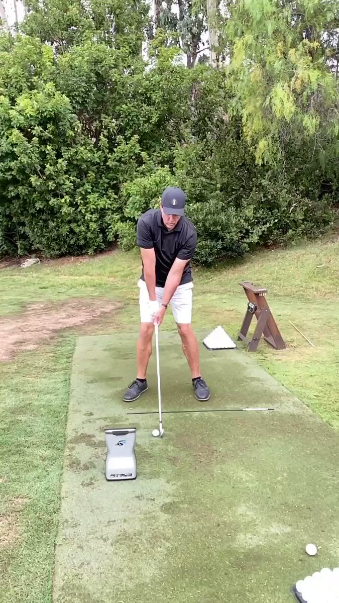 I'm working with Andrew today for an upcoming stretch of playing 4 of 5 weeks. This swing has much more width (hands away from my head) allowing me to post my front leg and reduce hand action through impact.  Progress.