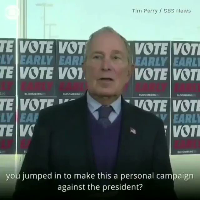 """Ouch!!..This is the greatest """"one liner"""" against Trump ever produced by anyone anywhere at anytime!.... This is Bloomberg at is fiery best! Omg...he just humiliated Trump in the worst way! https://t.co/m0vCAaPCaP"""
