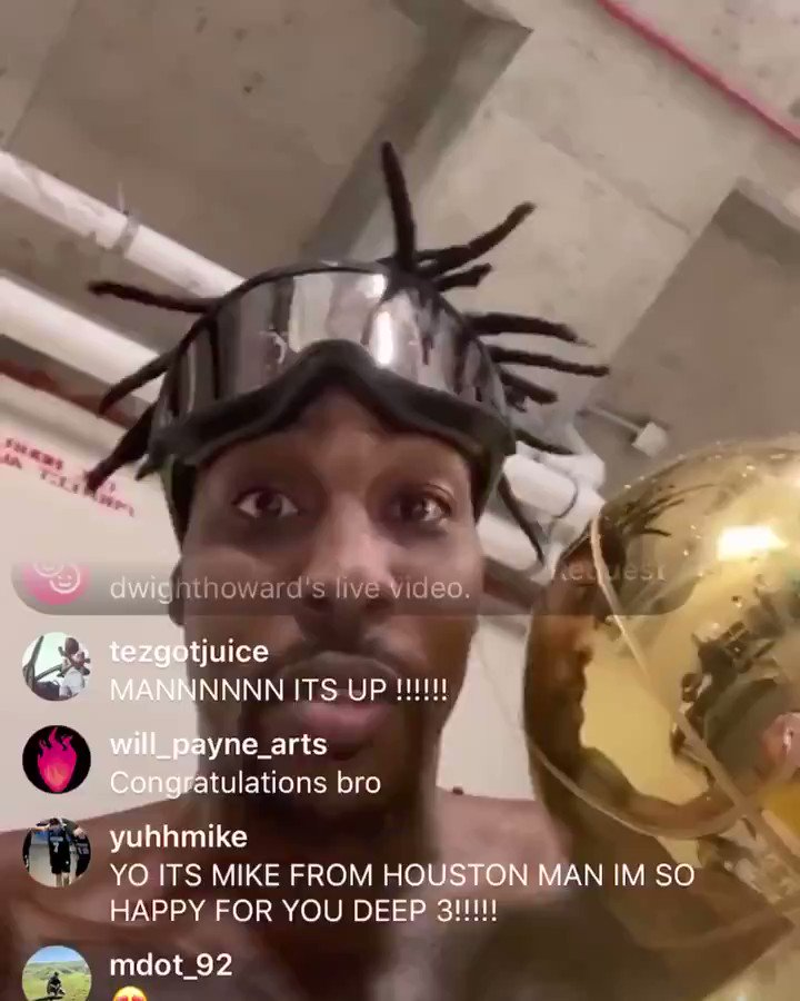 Dwight emotional after his first NBA title.  He's been through a lot the past few years. He's now an NBA champion 🙏 https://t.co/PXxdkiPAIE