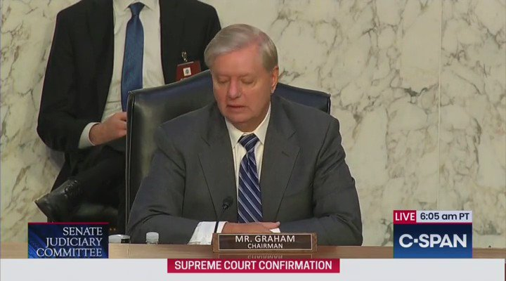 .@LindseyGrahamSC to Amy Coney Barrett: This hearing to me is an opportunity to not punch through a glass ceiling, but a reinforced concrete barrier around conservative women. Youre going to shatter that barrier.