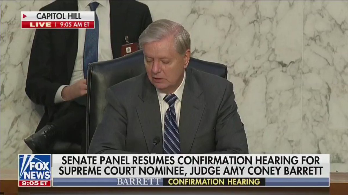 Sen. @LindseyGrahamSC: This hearing to me is an opportunity to not punch through a glass ceiling, but a reinforced concrete barrier around conservative women. Youre going to shatter that barrier. Ive never been more proud of a nominee than I am of you.