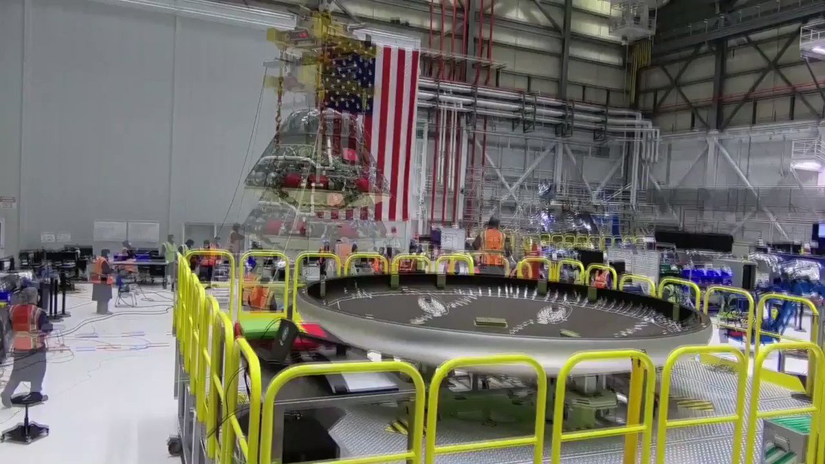 #Starliner is one step closer to launch. Our team at @NASAKennedy installed the base heat shield on the reusable Orbital Flight Test-2 crew module. The heat shield protects the spacecraft and future crew from re-entry temperatures as hot as 3,000° F. #IAC2020