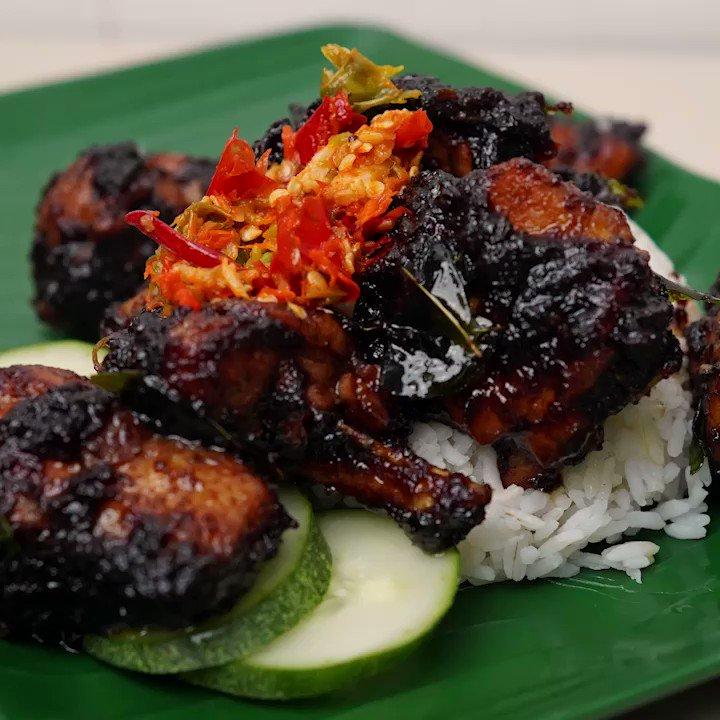 Ayam masak kicap pedas + Sambal tumbuk
