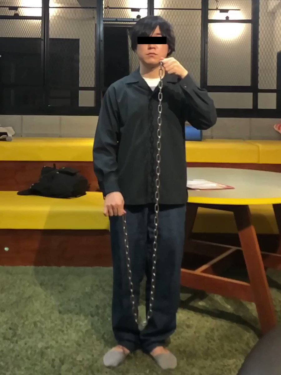 仕事中に鎖で遊んでいたら…鎖が当たってアゴが砕けた…