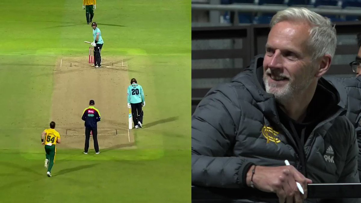 From keeper to keeper, coach to player, father to son, pure appreciation of a stunning grab behind the stumps. Every angle of THAT @TomMoores23 @VitalityBlast Finals Day grab #Outlaws