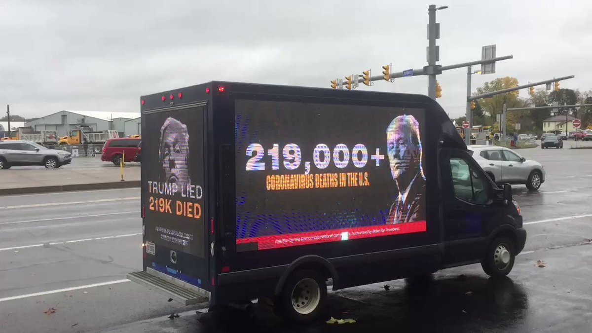 """The virus isn't """"going to disappear"""" and neither is the truth: Trump lied. 219,000+ died.  We're delivering the facts ahead of Trump's rally in Erie, Pennsylvania today. https://t.co/Yb8b6s9vvf"""