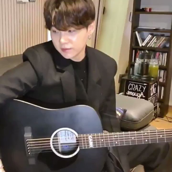 Replying to @ughkimnamjoon: Yoongi playing guitar for us was the most healing thing