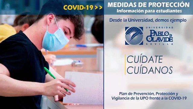 La responsabilidad de todos y todas es fundamental para protegernos de la #COVID19  'Cuídate, Cuídanos' 👉 Plan de Prevención, Protección y Vigilancia de la #UPO frente a la COVID19  #coronavirus #Protección #SoydelaUPO Vía @pablodeolavide https://t.co/RTL4nB0zyz