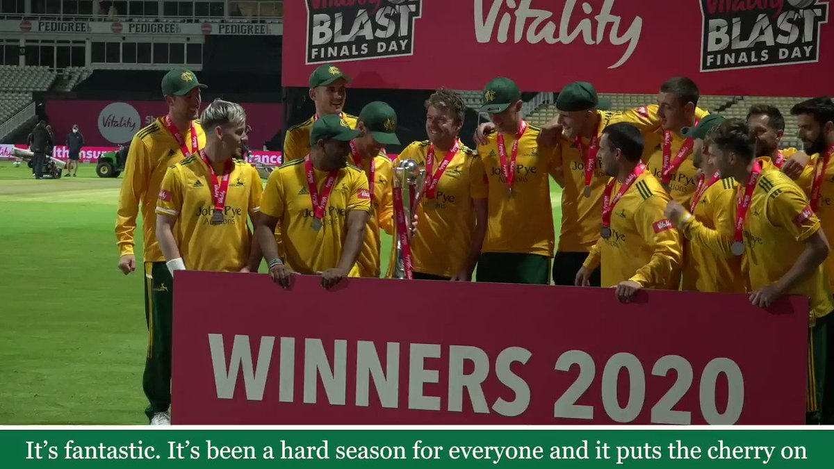 🏆 A trophy for everyone. Head Groundsman Steve Birks on his pride in seeing the #Outlaws lift the @VitalityBlast.