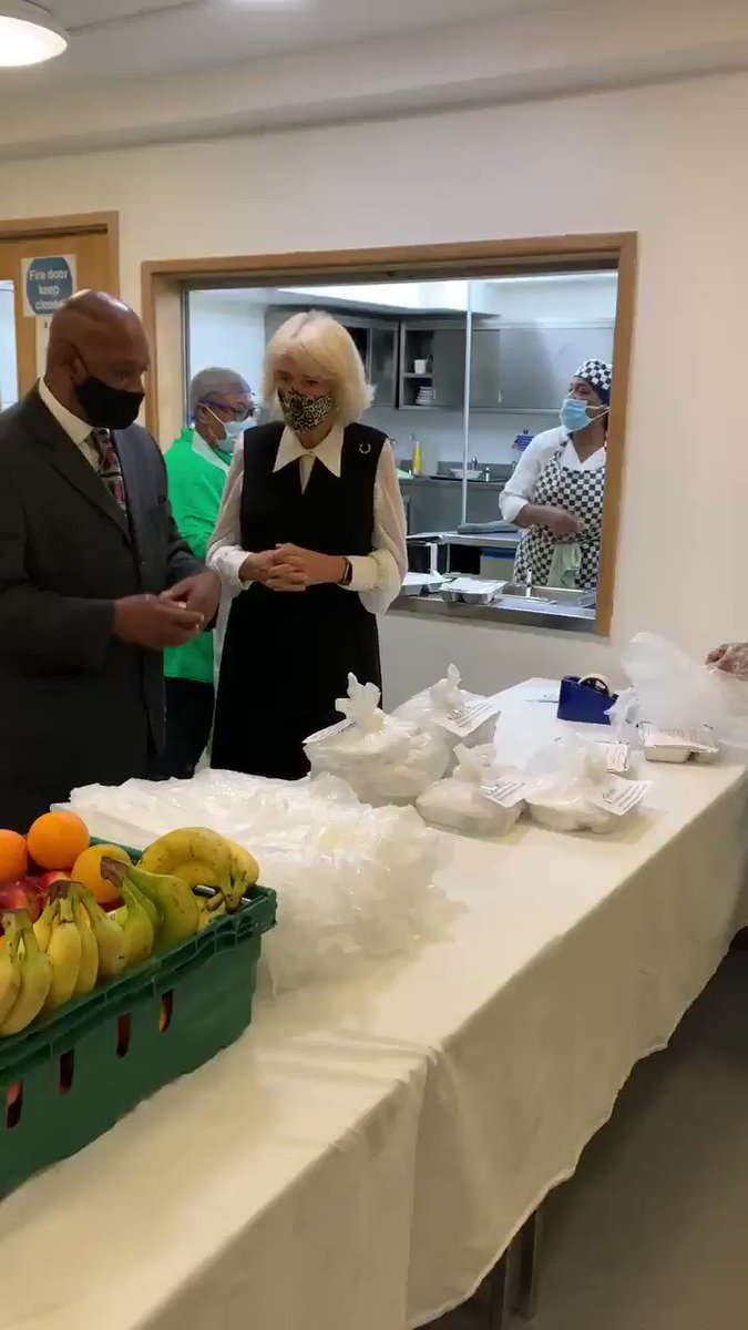 The centre was founded in 1981 by Pansy Jeffrey, a Windrush generation activist. The aim was to provide a culturally sensitive drop-in centre for retired, redundant or disabled members of the elderly African Caribbean community. HRH sees meals being prepared for delivery.