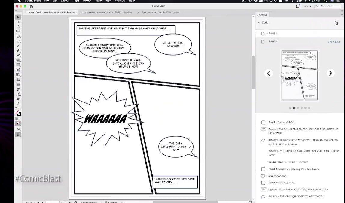Adobeが発表した技術「ComicBlast」台本から自動的に漫画の吹き出しやコマ割を作成。漫画をデジタル編集できるようにする技術。・吹き出しやコマ割は再編集できる・キャラクターのイラストを、 スキャンした自分の顔に変更できる・アニメーションも付けられるこれはヤバい・・・#AdobeMAX