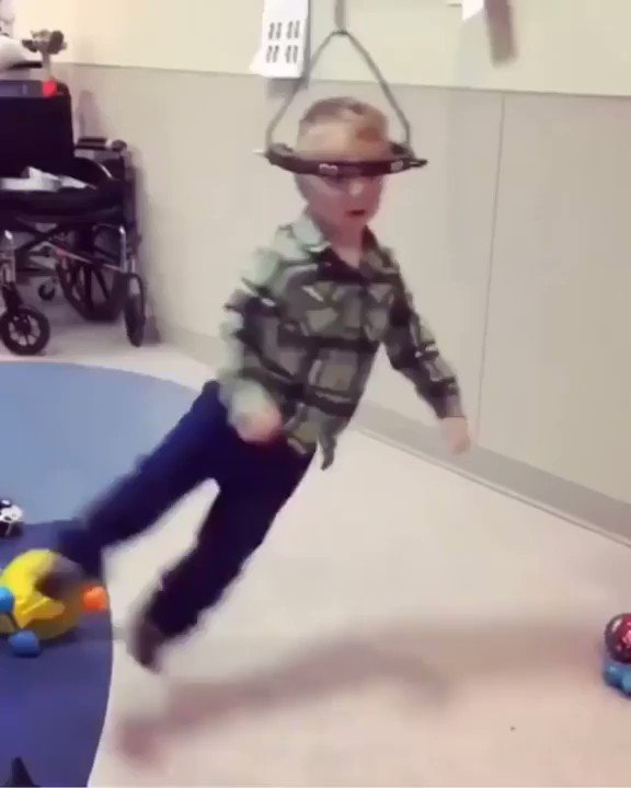 Halo-gravity traction is a technique to gently straighten the spine of children with severe scoliosis.