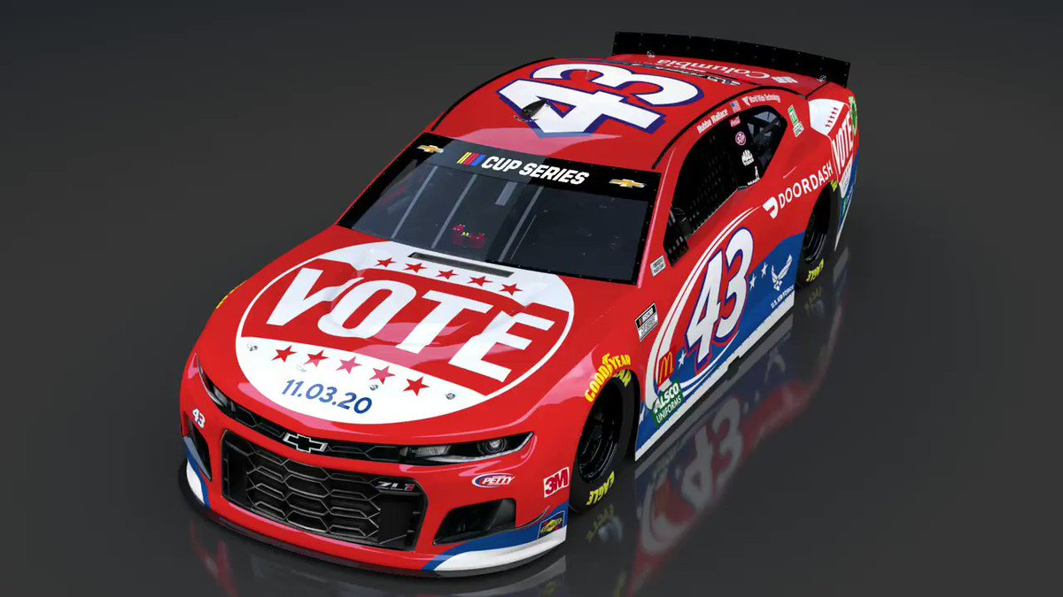 🎨 Fresh scheme 🎨 The No. 43 @DoorDash Chevrolet will have a new look next week at @MartinsvilleSwy encouraging you to #DashToThePolls and Vote!