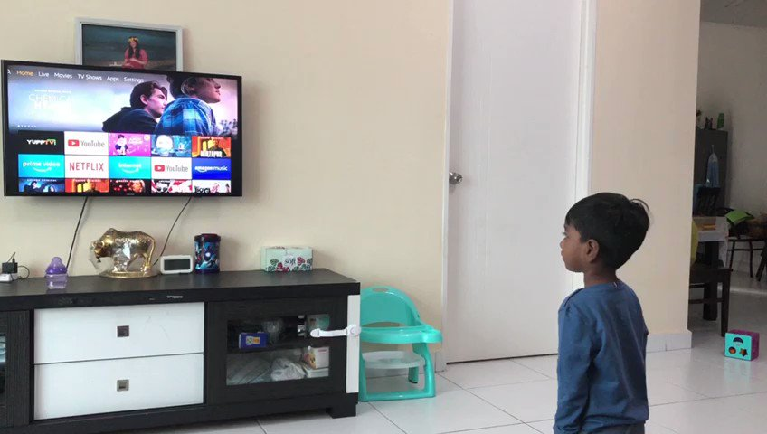 From the moment he watched the trailer of Bheem this is his reaction every time we turn on the TV, he just asks to play Water water water.@ssrajamouli it's your magic that even a 2 year old kid can understand your description of a character. @tarak9999 @AlwaysRamCharan @smkoneru