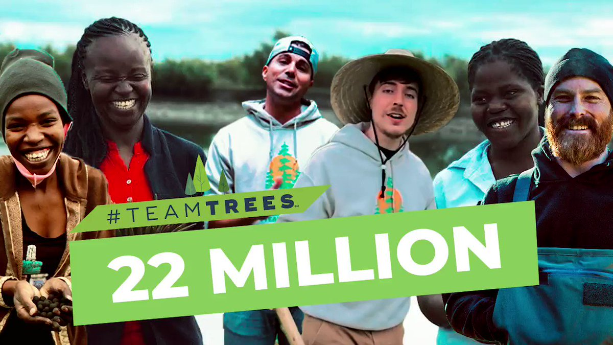 The planet thanks you, @MrBeastYT & @MarkRober. #TeamTrees. Happy birthday @teamtreesofficl 🌲🌲