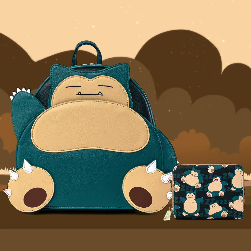 Don't snoo💤e this morning! Catch the sleepiest Pokémon today! Our Snorlax mini backpack and coordinating with wallet are both available on bit.ly/34upoGE! 💙🤍💙 #Loungefly #Pokémon #Snorlax #GottaCatchEmAll #Pokédex