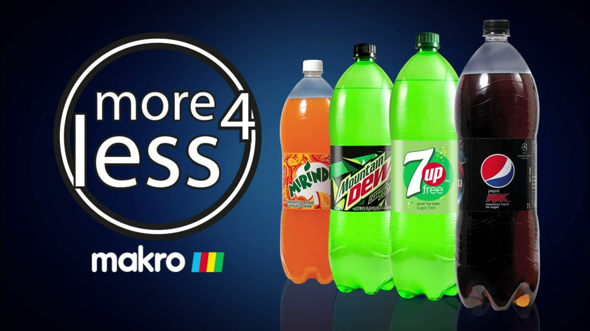 Who said less is more? Get yourself to @Makro_SA where More4Less is better! 👉🏾Buy any 8 x 2L Pepsi cooldrinks for ONLY R100! Now that's #ImpossibleToIgnore. Cheers!   (Offer includes Pepsi MAX, Mountain Dew, 7Up Free, and Mirinda.) Available for a limited time only. https://t.co/HEXePHPMqu