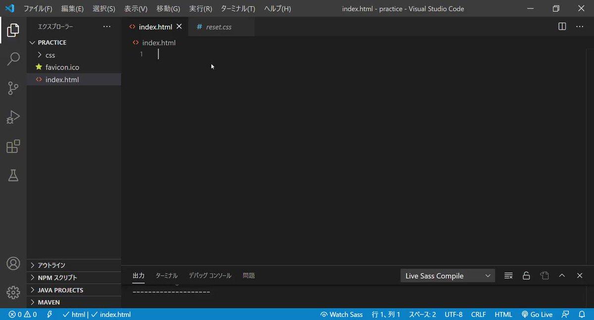 #デイトラ  久しぶりフォルダ作成したら最初何やるんだっけ?となってしまった😅index.html 「!→tab」 雛型表示reset.css→styles.cssの順で読み込むscssコンパイル WatchSass→watching...になればOK!#駆け出しエンジニアと繋がりたい #プログラミング初心者