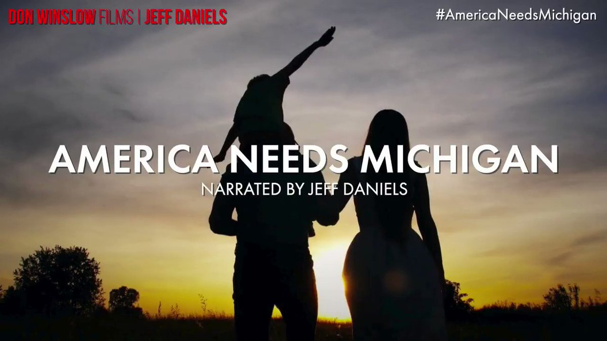**NEW VIDEO**  #AmericaNeedsMichigan **SOUND UP**  Narrated by two-time Emmy winner @Jeff_Daniels !   We need you to help us get 20,000 RETWEETS of this video.   Please QUOTE RETWEET.