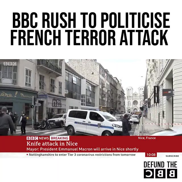 """Disgraceful politicising of the Nice terror attack by the BBC. The Mayor called it a terror attack because it clearly was. The BBC's snide remarks about him being """"right wing"""" and """"quick to call it a terror attack"""" are deeply distasteful.  #DefundTheBBC https://t.co/NgJg3S6liw"""