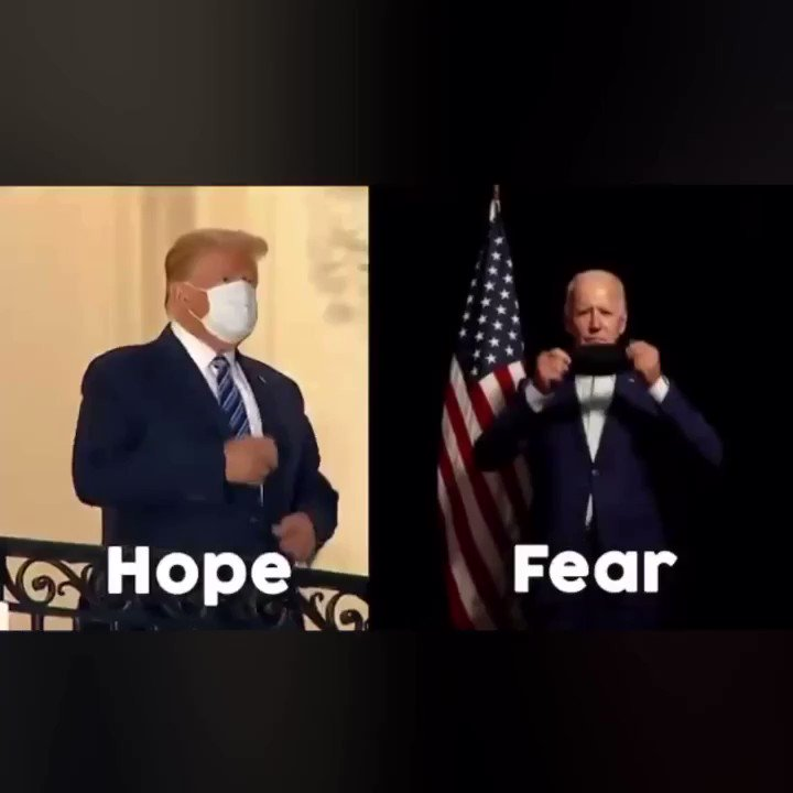 On November 3rd, America has a choice: Hope VS Fear Freedom VS Lockdowns Fear is the currency of control. America will choose freedom every time! #Trump2020LandslideVictory