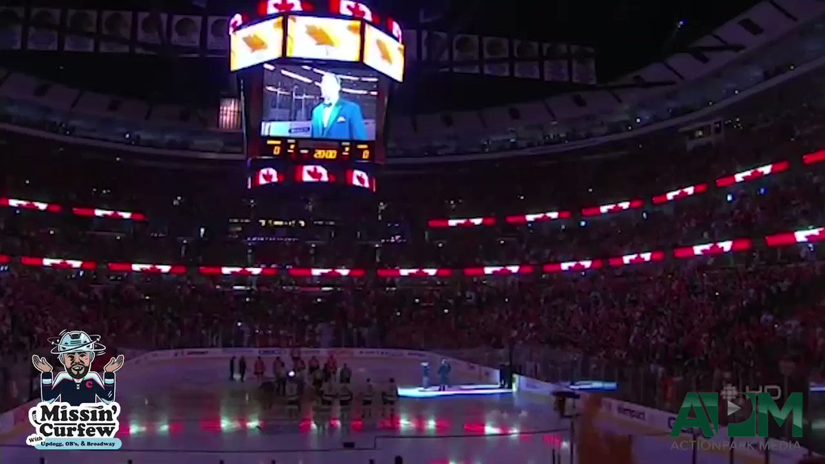 The Updogg has a half chub watching this ... Run through a wall and into your weekend after watching the hawks national anthem at the United Center  @MissinCurfew  @ScottieUpshall  @ShaneOBrien55  @Jimmy10Hayes  @DaveBolland