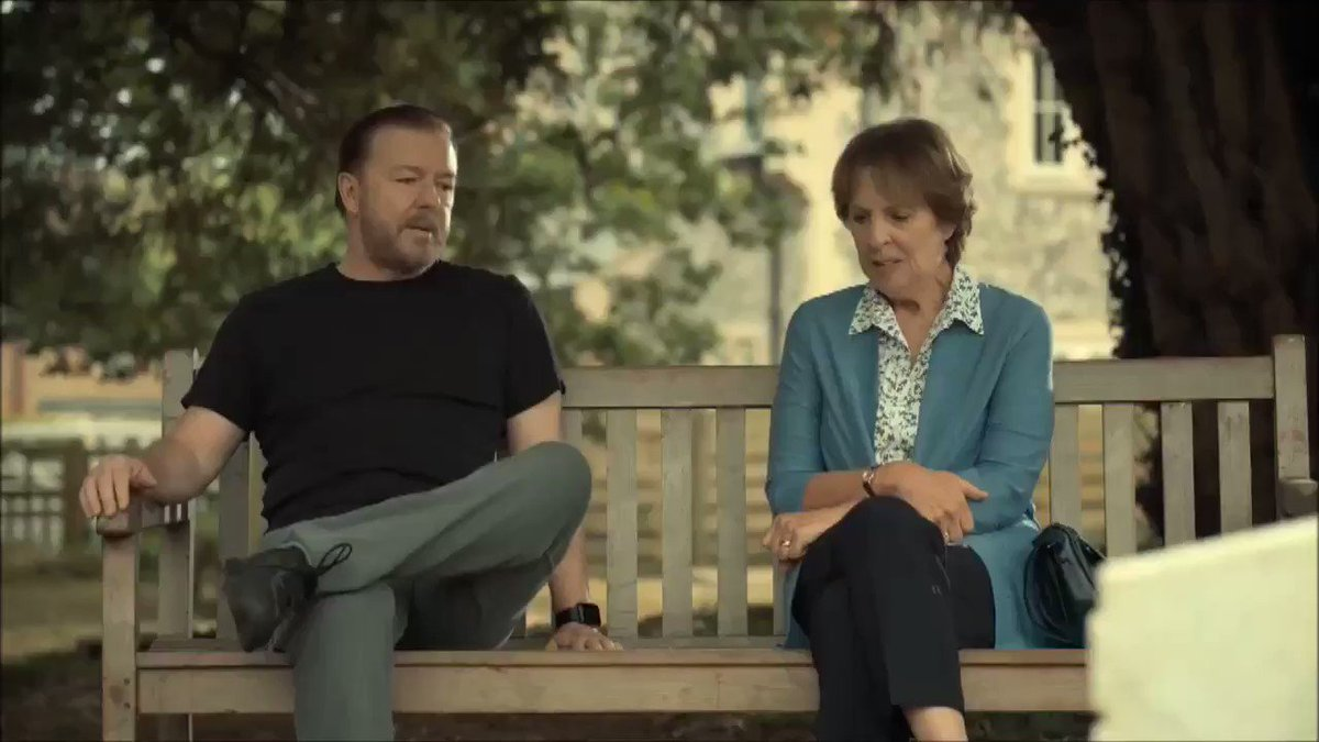 "If you could only watch 2 minutes of @rickygervais's #AfterLife - this clip would be the one to watch.  There is a lot packed into these 2 minutes of brilliant dialogue—survival, hope, kindness.    ""Happiness is amazing. It's so amazing it doesn't matter if it's yours or not."""
