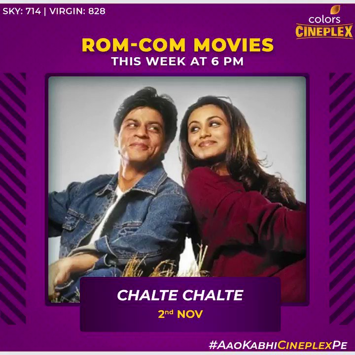 This week we bring hit rom-com movies for you to sit back & relax. @iamsrk @sidharth_shukla @aliaa08 @Varun_dvn @Nawazuddin_S @iamsrkFanClub   #ColorsCineplex #AaoKabhiCineplexPe #BollywoodMovies #ChalteChalte #Airlift #KapoorAndSons #HumptySharmaKiDulhania #MotichoorChaknachoor