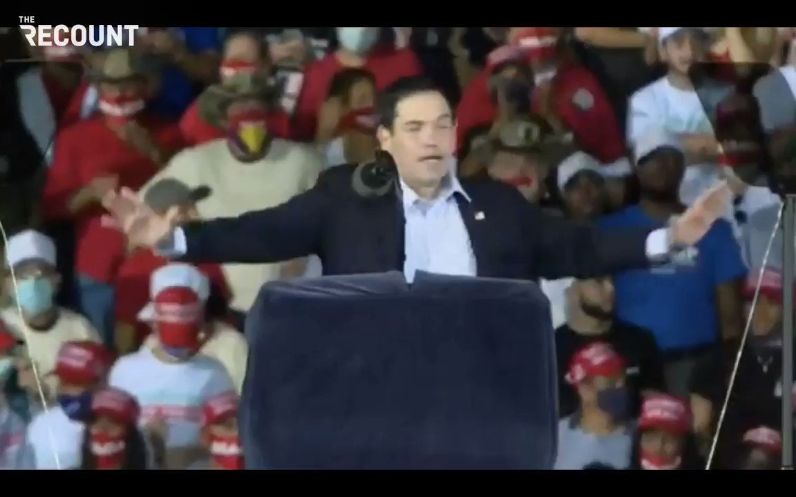 "Sen. Marco Rubio (R-FL) at last night's rally on the Texas Trump caravan that menacingly surrounded Biden bus:   ""We love what they did, but here's the thing they don't know: We do that in Florida every day. I love seeing the boat parades ... We thank all the great patriots..."""
