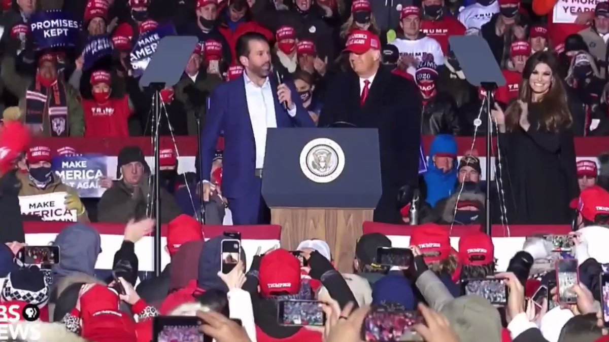 Don Jr. wanted a hug at the final rally of the 2020 campaign, but daddy said no way.