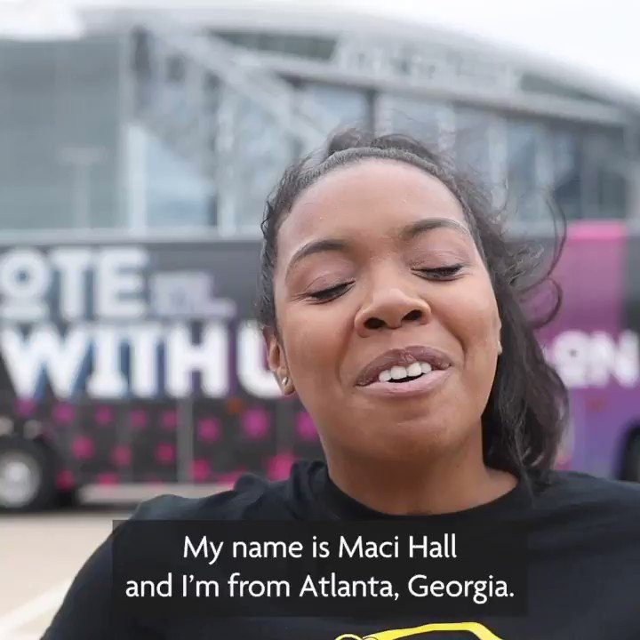"""Dedicated voters are what's important"" said Maci as she and the @WeAreMarchOn #VoteWithUs early vote bus tour stop at Atlanta, Georgia."