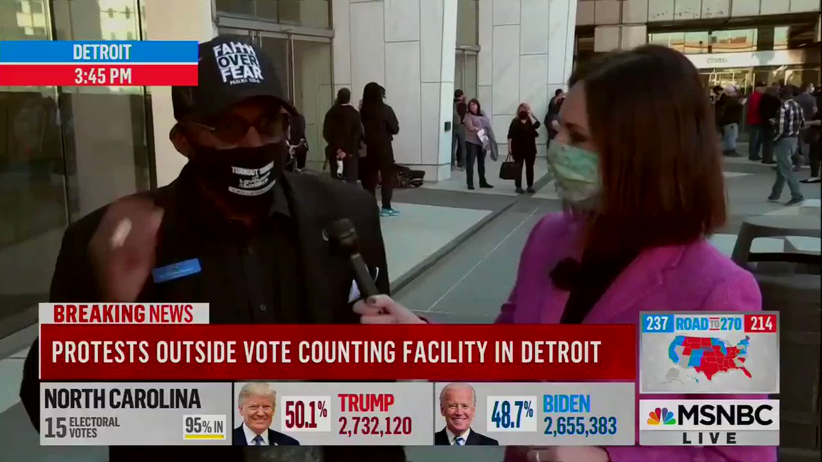 "Chaplain in Detroit on the ""stop the count"" protests:   ""We're not deterred … The Black vote in Detroit is higher than it's ever been and we will determine the outcome — because we've gone from picking cotton to picking presidents."" #Election2020"