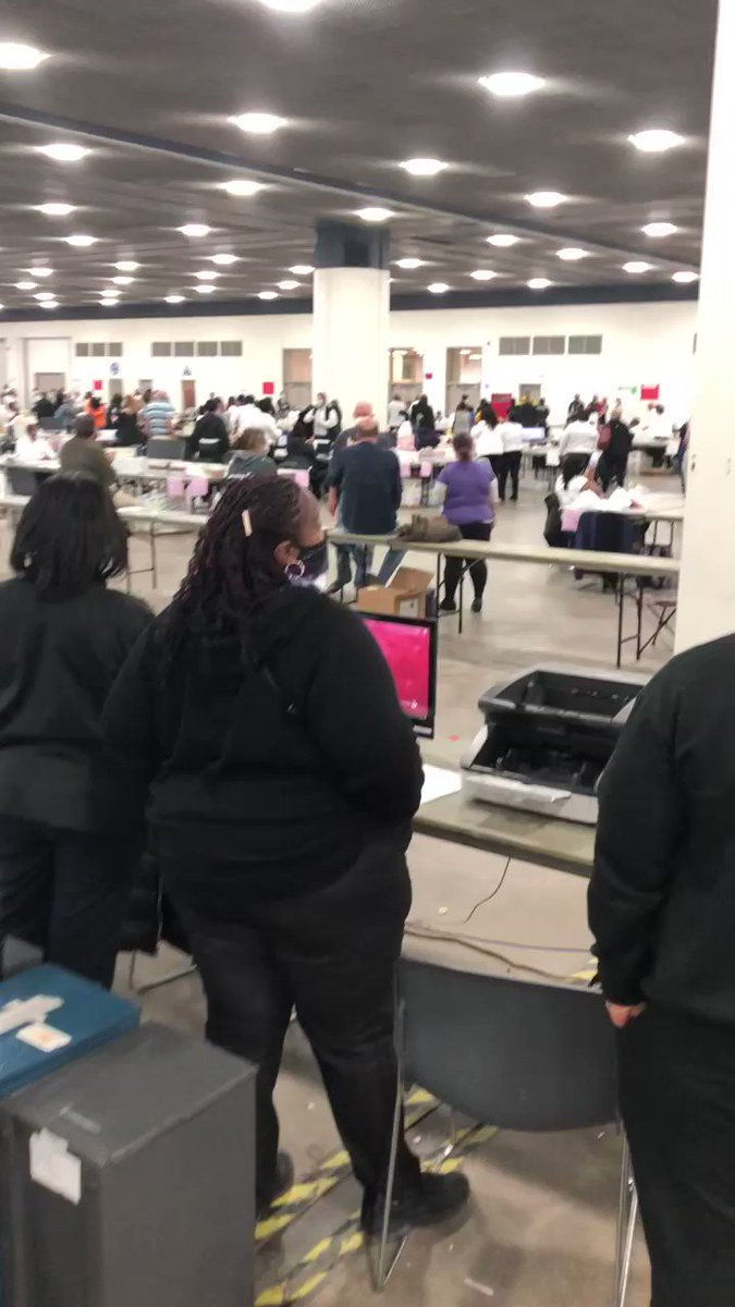 My wife just sent this video of Detroit election workers cheering every time a @migop attorney is removed from the TCF Center, where absentee ballot counting is happening. She says they do this every time they eject a GOP poll watcher & that Dem watchers outnumber GOP 3:1. https://t.co/Sx1aHCoChY