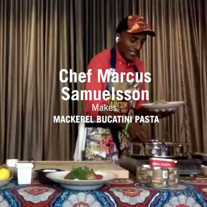 Chef Marcus Samuelsson @MarcusCooks creates a royal feast...Bucatini with King Oscar Mackerel, Swiss Chard, Preserved Lemon & Chili! Head over to https://t.co/dCYa8tVerR to watch Chef Marcus in action and get the amazing, easy recipe! https://t.co/PX8srGMP8q