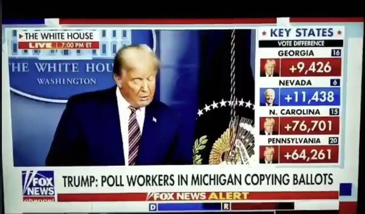 アメリカ メディア崩壊‼️  +9426票が一瞬で➡️ +3635票   トランプ大統領の会見中に 右横の上、赤の「Georgia」   ️  ️  ️録画で拡散‼️