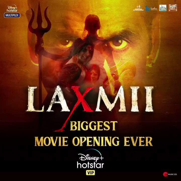 #Laxmii breaks all records to become the biggest opening movie ever on @DisneyplusHSVIP! Thank you for all the love. Subscribe now to watch the entertainment blockbuster of the year.🙌🏻  #FoxStarStudios #DisneyPlusHotstarMultiplex #YehDiwaliLaxmiiWali