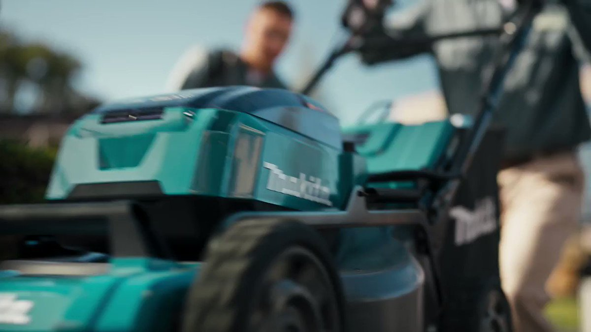 """The 18V X2 (36V) LXT Brushless Cordless 21"""" Self-Propelled Commercial Lawn Mower eliminates the hassles of gas. It cuts up to 2/3 acre in 60 minutes or less with four 18V LXT 5.0Ah Batteries.   #makitausa #makitatools #lawnmower #mower #ruletheoutdoors"""