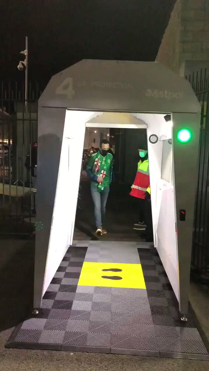 The 'disinfecting pod' here at Windsor Park welcomes some of the 1000 Northern Ireland fans allowed inside for tonight's huge Euro qualifying play-off final v Slovakia. https://t.co/l7XhDAc8Kx