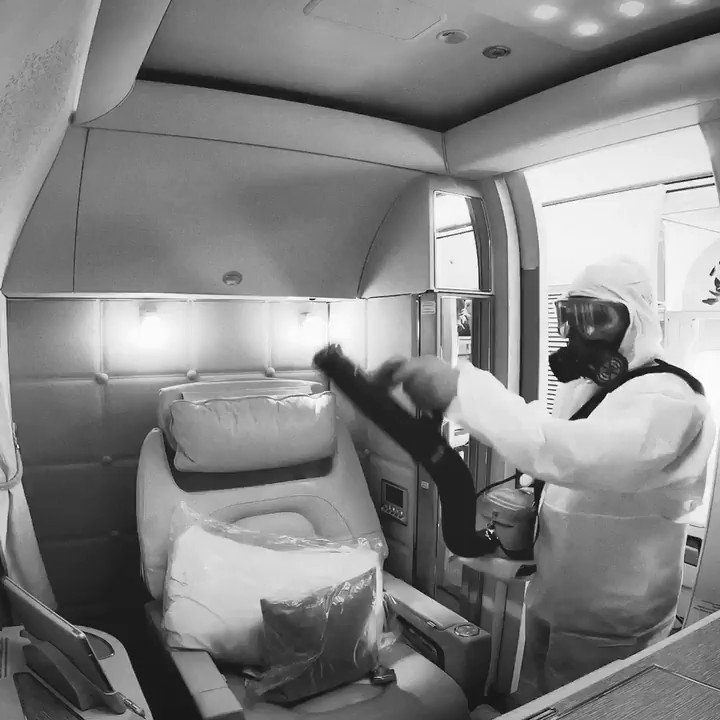 Watch an entire Boeing 777 get cleaned and sanitised in 60 seconds flat!  Your safety is always our top priority.  #FlySaferWithEmirates #FlyEmiratesFlyBetter @BoeingAirplanes