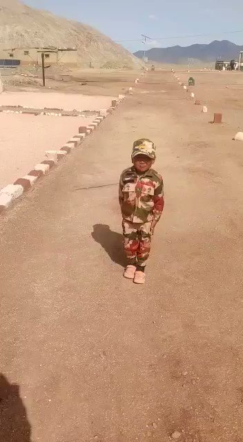 India Positive  Here is our young soldier Nawang Namgyal, the 5 yrs old saluting kid in @ITBP_official uniform.   It was his video which went viral last month saluting jawans near a border village in #Ladakh. Our forces hv such motivated soldiers. #PositiveVibes #Salute2Soldiers
