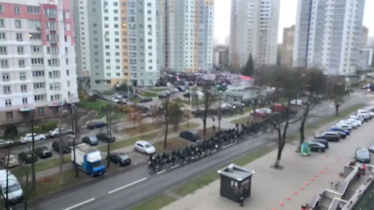 """The internet in the area is switched off and the riot police is preparing for a full """"clean up"""" of the people surrounding the memorial. The atmosphere on the ground is increasingly scary, the riot police wont' stop at anything. #Belarus"""