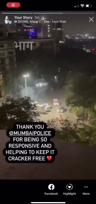 Thank you @MumbaiPolice for being so responsive and helping us stop the burning of crackers outside our homes .. #CrackerFreeDiwali 🪔 #EnvironmentFriendlyDiwali ✨ @AUThackeray 💚💛