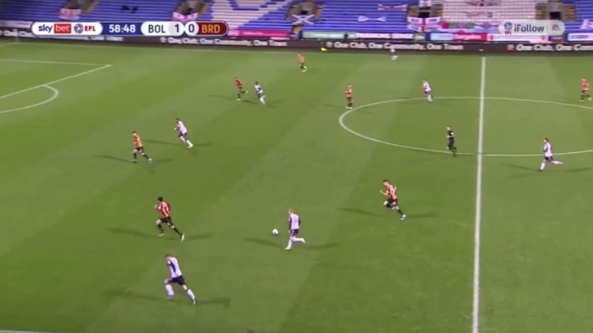v Bradford - probably the best example of the lot. So much time and space to play the through ball for Gnahoua
