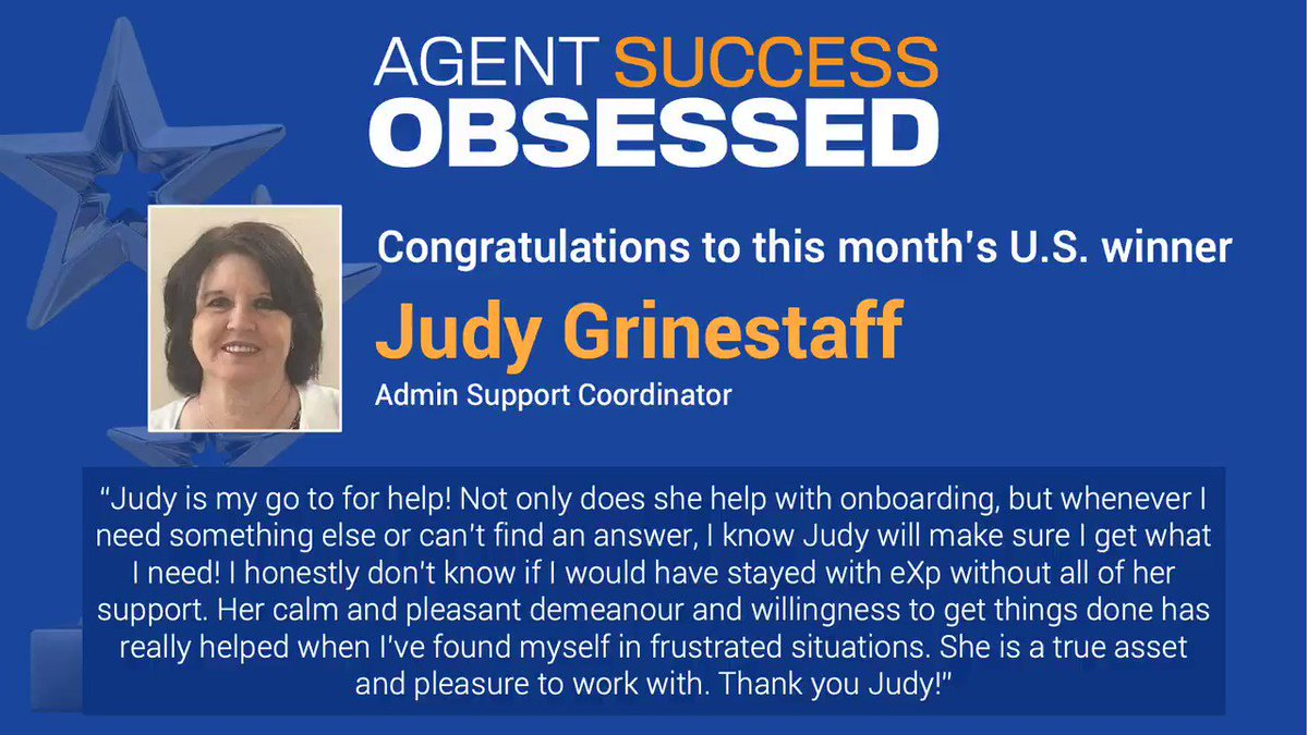 We're excited to announce our latest Agent Success Obsessed winner, Judy Grinestaff, admin support coordinator. She was nominated for going the extra mile to make every agent's onboarding experience great. Thank you for your commitment, Judy! #eXpProud #AgentSuccessObsessed https://t.co/F34J0PciXB