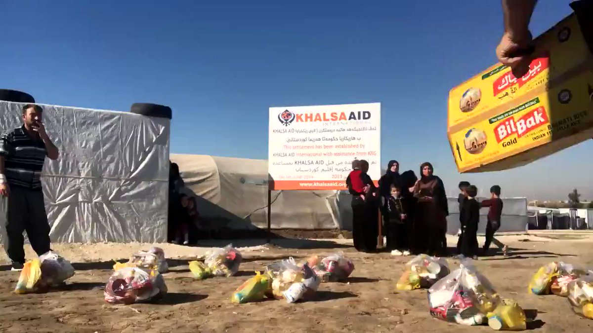 In Iraq last year with @Khalsa_Aid @RaviSinghKA @FahmiSozan Try playing Benny Hill music with this ! On a serious note we still need donations to continue the food distribution to #Yezidi families. khalsaaid.org