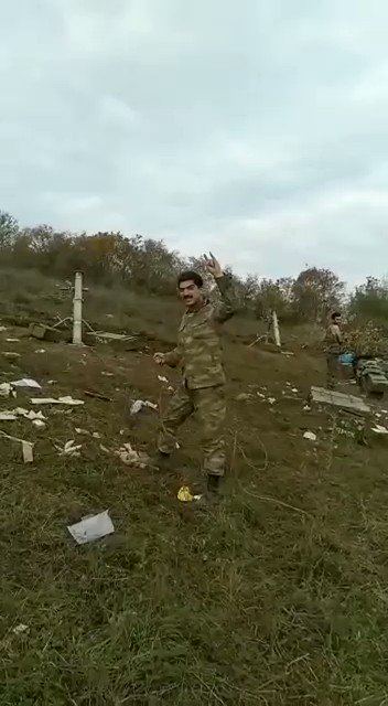 Footage of a mortar unit of Azerbaijan forces firing rounds during the second Karabakh war.