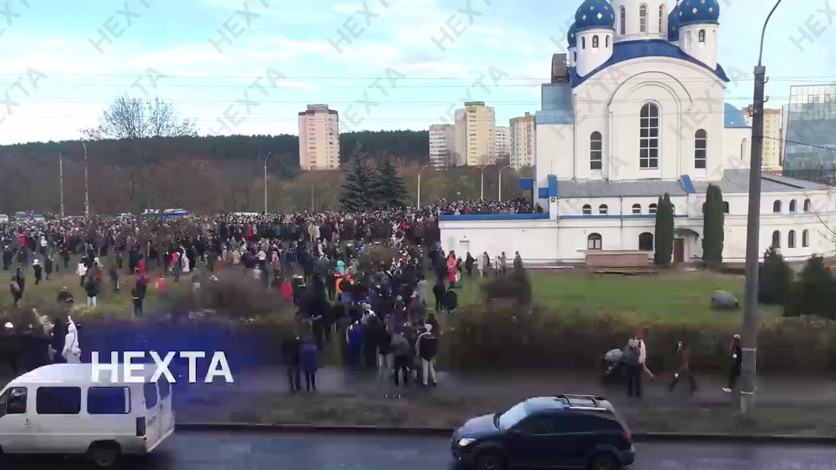 Minsk. Thousands of people came to pay their last respects to Roman Bondarenko who died after being beaten by a pro-Luka gang headed by the head of Belarus Ice Hockey Federation. Journalist who's been working on his story has been abducted yesterday. She is now in a KGB prison.